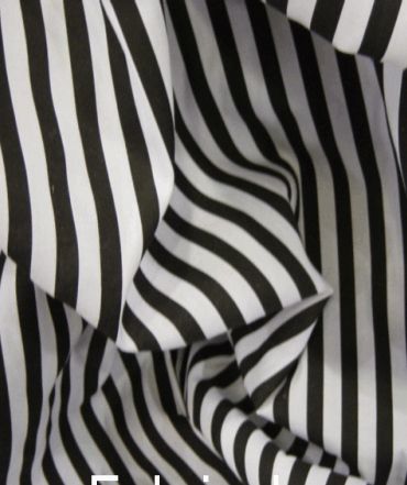 Poly Cotton 1 cm Stripe - Black