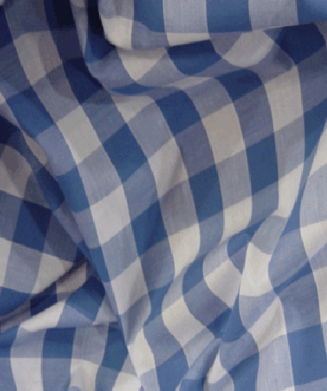 Gingham Fabric 1 Inch Check - Sky Blue