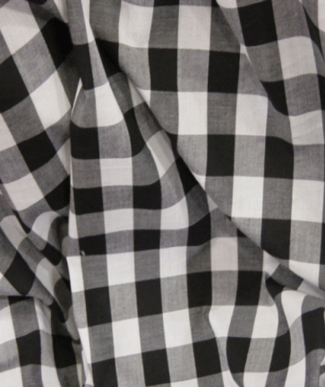 Gingham Fabric 1 Inch Check - Black