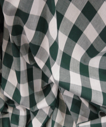 Gingham Fabric 1 Inch Check - Bottle Green