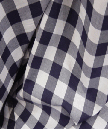 Gingham Fabric 1 Inch Check - Navy