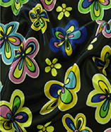 Multi Coloured Satin Flowers - Black