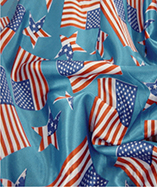 Union Jack/Stars & Stripes Flags on Satin Fabric - USA Stars n Stripes