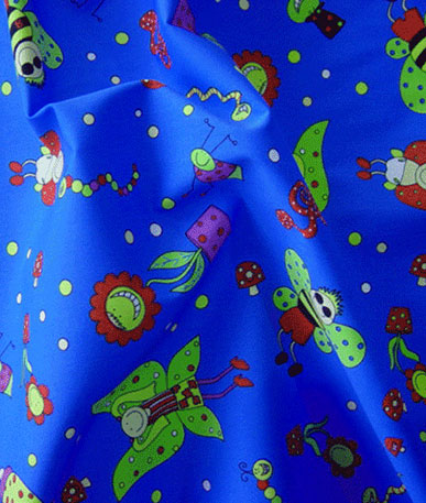 Teredo Fun Bugs Polycotton Drill - Blue