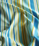 Printed Stripe Curtain Fabric - Blue