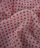 Clearance Chiffon - Red Polka