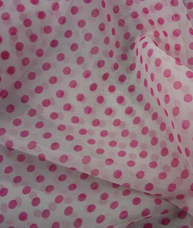 Pink Polka Chiffon - Pink Dots