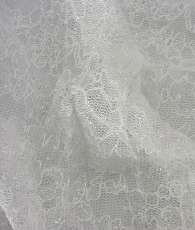 Ivory Iridescent Sparkle Stretch Lace - White Iridescent