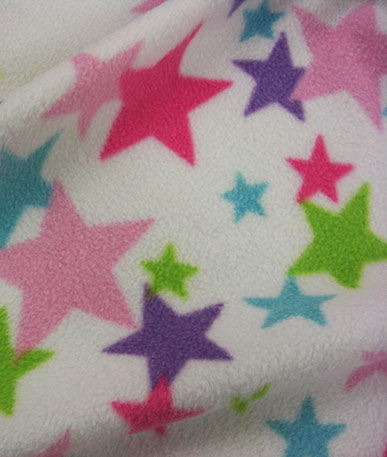 Fleece Printed  Hearts, Stars, etc - Coloured Stars (2)