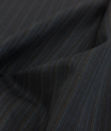 Polyester Wool Mix Suiting  1 - Blue Pinstripe