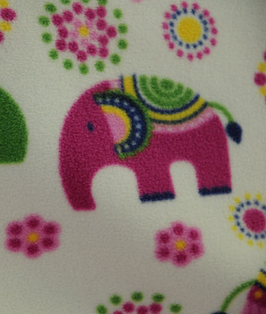 Pink Elephants Fleece Fabric  - multicolour