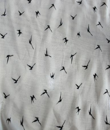 Embroided Dove Chiffon Polyester  - White