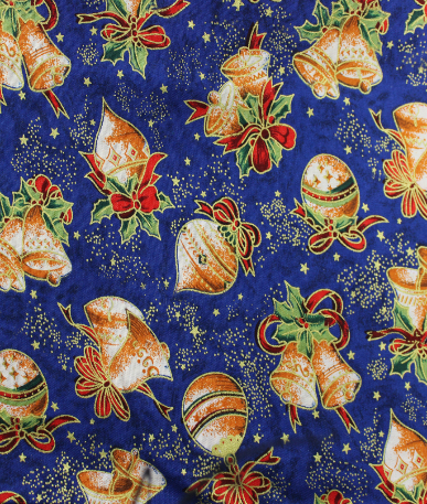 Christmas Bauble Print Poplin - Blue