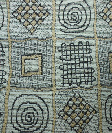 Aztec Patchwork Tapestry Curtain Upholstery Fabric - Grey / Gold