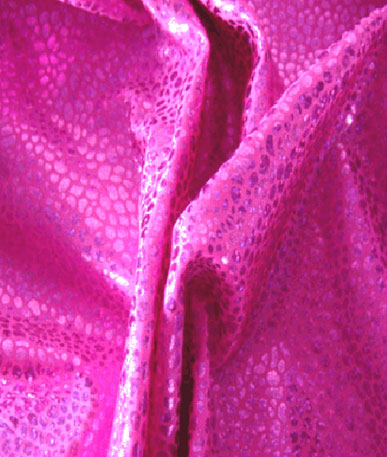 Holographic Mini Pebble Design Lycra Fabric - Cerise