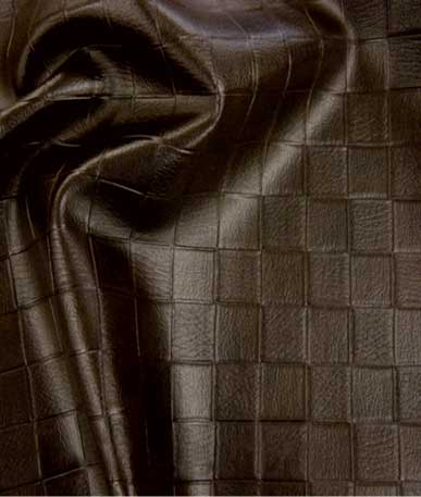 Leatherette Embossed Squares - Dark Brown