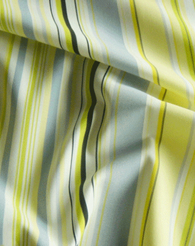 Printed Stripe Curtain Fabric - Lemon