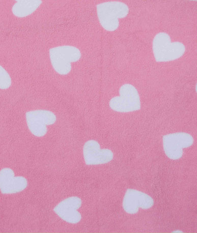 Hearts Printed Fleece - Pink Ground White Heart