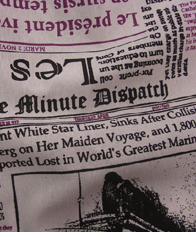 Vintage French / English Newspaper Polycotton - Purple