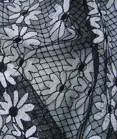 Black and White Trellis Flower Lace - Black