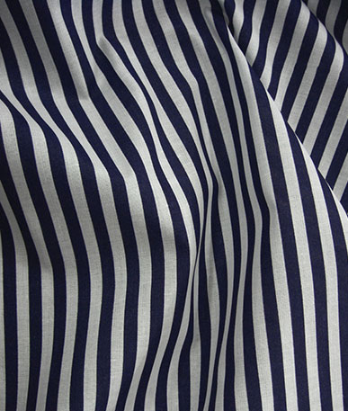 Stripes on Polycotton(to clear) - Navy
