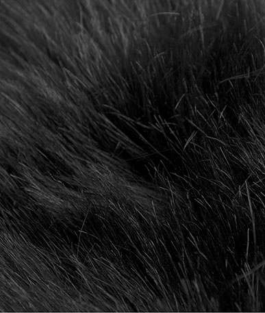 Black Longhair Faux Fur  - Black
