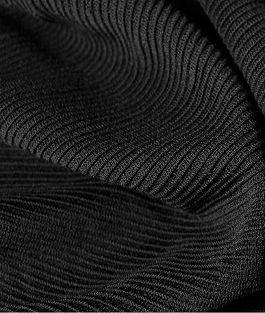 Pleated Poly Viscose Jersey (D) - Black