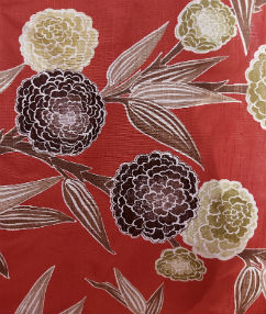 Dahlia Flower Upholstery Linen - Brick Red