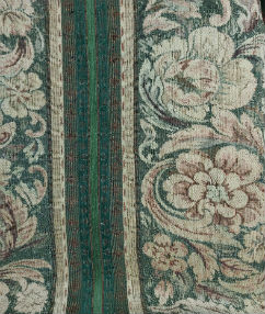 Floral Tapestry Stripe Upholstery  - Wheat/Green